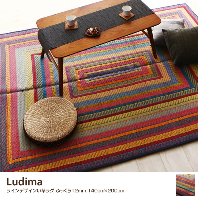 Ludima ラインデザインい草ラグ ふっくら12mm 140cm×200cm