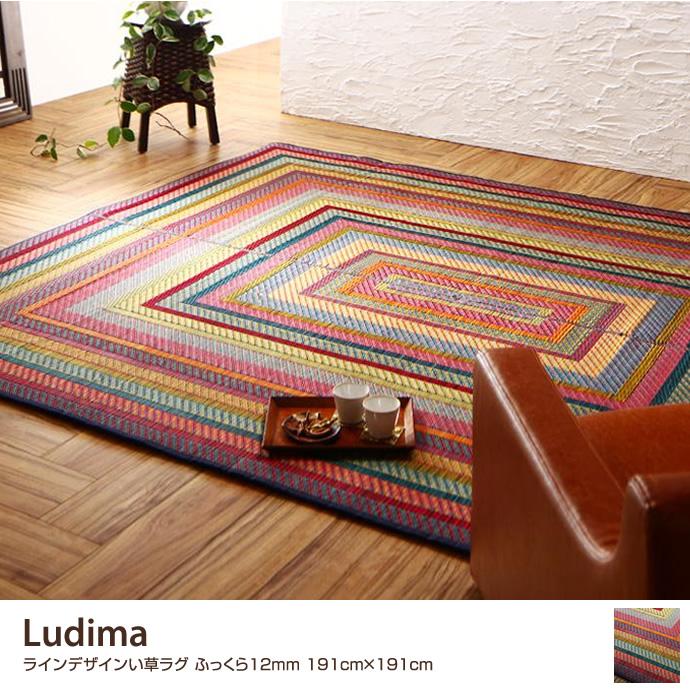 Ludima ラインデザインい草ラグ ふっくら12mm 191cm×191cm