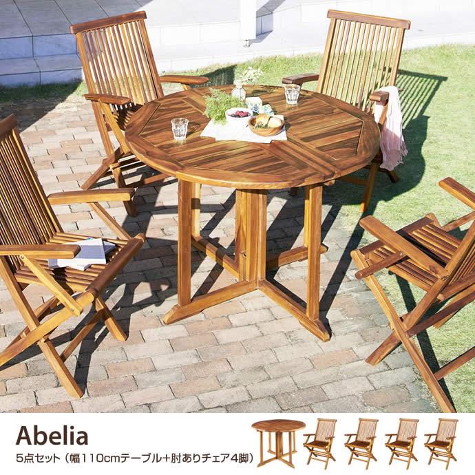 【5点セット】Abelia 幅110cmテーブル+肘ありチェア4脚