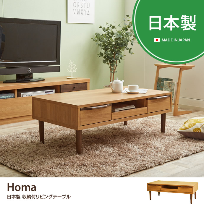 Homa 日本製 収納付きリビングテーブル