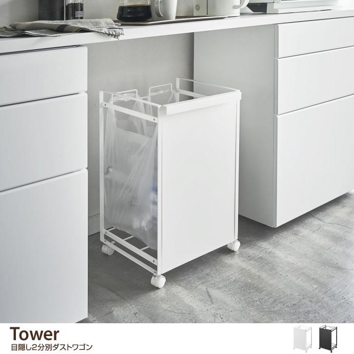 ゴミ箱Tower 目隠し2分別ダストワゴン